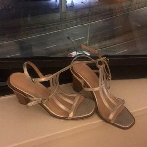 Shoes - Silver cage sandals chunky heels